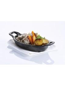 Сковорода 155х95 мм с двумя ручками чугун порционная Luxstahl