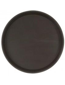 Поднос прорезиненный круглый 400х25 мм коричневый