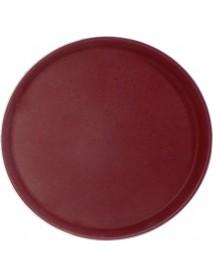 Поднос прорезиненный круглый 400х25 мм бордовый