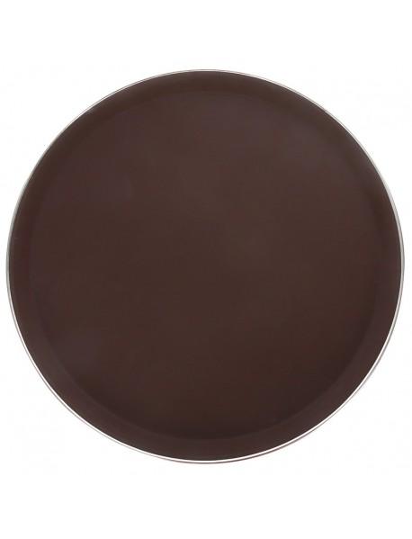 Поднос прорезиненный круглый 350 мм коричневый с ободком из нержавеющей стали