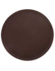Поднос прорезиненный круглый 400 мм коричневый с ободком из нержавеющей стали