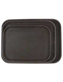 Поднос прорезиненный прямоугольный 460х360х30 мм коричневый