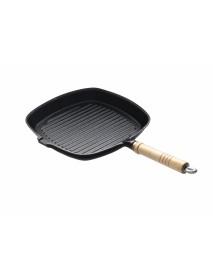 Сковорода чугунная рифленая 230х230 мм с деревянной ручкой Luxstahl