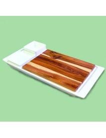 Блюдо прямоугольное со вставкой из акации и 2 соусника 99002818